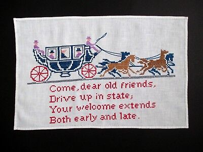 """Antique Linen Hand-Towel with Embroidery Picture + Text - 16 7/8"""" x 11 1/8"""""""