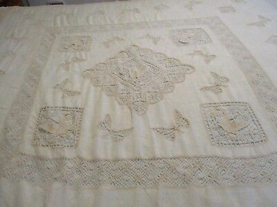Charming Vintage Antique Summer Bedspread Cover Lace Insets Swans & Butterflies