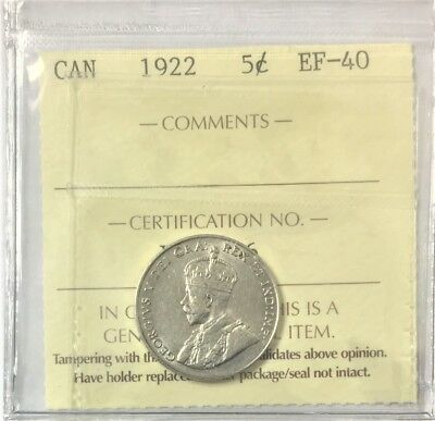 1922 Canada 5-cents  ICCS Certified EF-40  # 34992