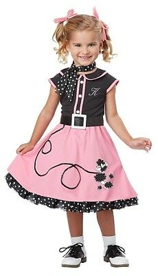 50s Poodle Cutie Toddler Costume Grease Halloween Party Dress-up            N4