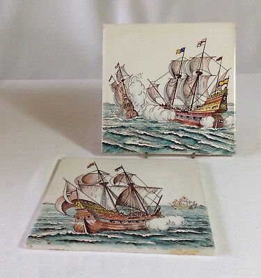 Two Vintage Hand Painted Galleon Tiles with Monogram