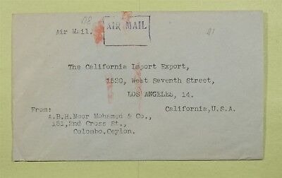 Dr Who Ceylon 1945 Air Mail To Los Angeles Ca C02704