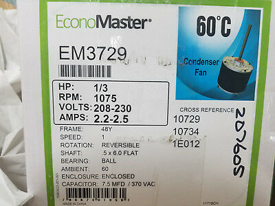 CONDENSER FAN MOTOR,1/3 HP,1075 rpm ECONOMASTER EM3729 - WITH  PRO CAPACITOR