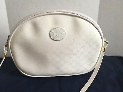 8dbe5e3a27b3 Vintage GUCCI White GG Monogram Round Canteen Crossbody Shoulder Bag *  AUTHENTIC