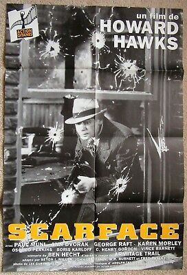 SCARFACE ORIG 1990's RE-RELEASE FR LRG MOVIE POSTER FLD HOWARD HAWKS CLASSIC EX