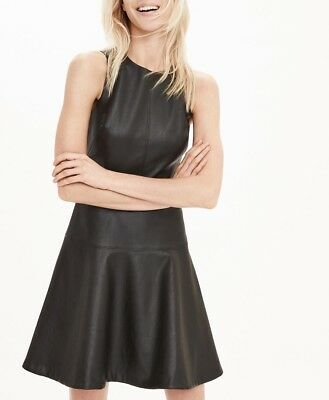 Banana Republic Faux-leather Fit-and-flare Dress in Black Size 10/12