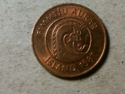 Iceland 50 aurar 1981 shrimp and horse coin