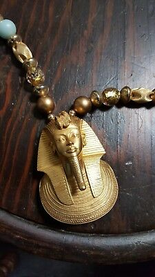 Vintage Egyptian Revival Goldtone Necklace Pendant MMA 1976 King Tut Museum Rare