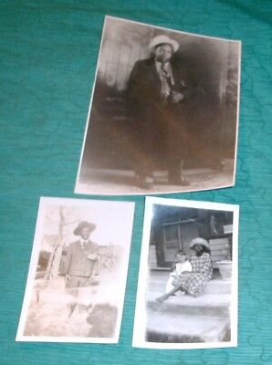 Lot of 3 Vintage Photos African American Snapshot  Man in Suit Girl White Child