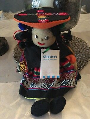 Vintage ClothTextile Doll from Peru - Artisan Folk Art Hand Made - Inca