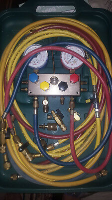 Refco 4 Way Manifold With Charging Hose M4-3-BS-R600A HVAC Guage + connectors