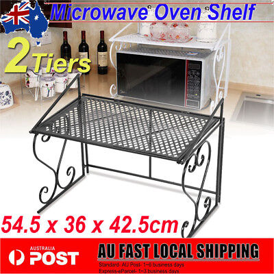 2 Tiers Microwave Oven Shelf Rack Organiser Storage Stand Black