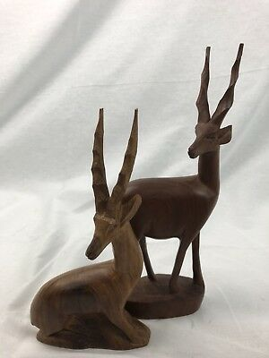 Pair of Hand Carved Wooden Gazelle Antelope Impala African Kenya Statue Figures
