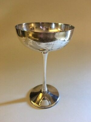 Vintage Silver Plate Wine Champagne Glass Wedding Goblets Made in Italy 6 1/4""