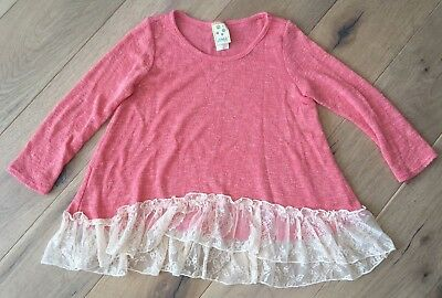 Kiddo Girls' Coral Lace Accented Lightweight Sweater Size 6x VGUC