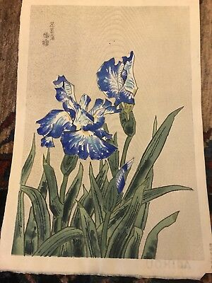 UKIYO-E Japanese Woolblock Print Of Irises