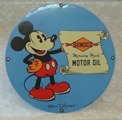 Vintage Sunoco Mickey Mouse Porcelain Service Station Sign Gas Pump Plate