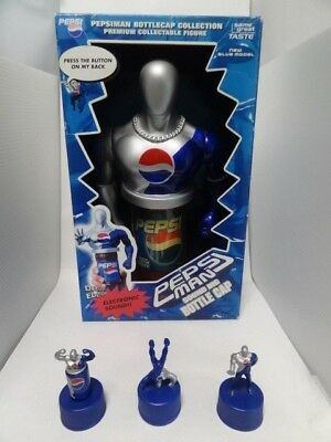 Rare PEPSI MAN Figure Sound Big Bottle Cap Limited Sweepstakes Goods