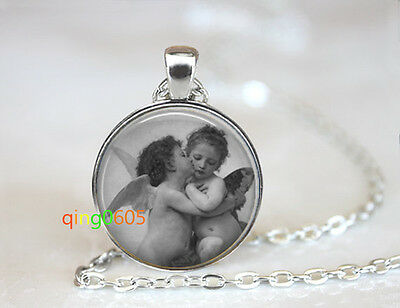 The First Kiss Drawing glass dome Tibet silver Chain Pendant Necklace wholesale
