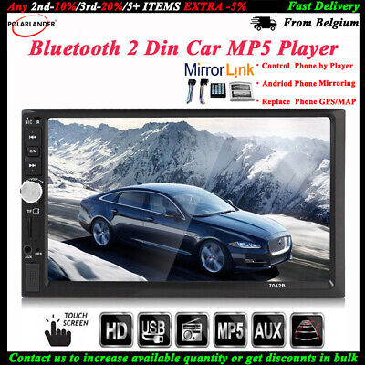 7'' 2 DIN Touch Screen Car Radio USB/TF/AUX/FM/Remote Bluetooth Audio Stereo MP5