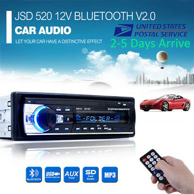 1 DIN 12V Car Radio Stereo FM SD/USB/AUX Bluetooth Remote Head Unit MP3 Player