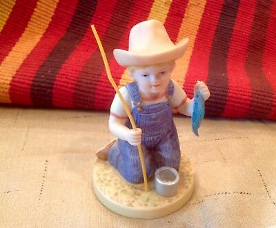 "1998  Homco Denim Days Porcelain Figure - ""Catch of the Day"" #15331-98"