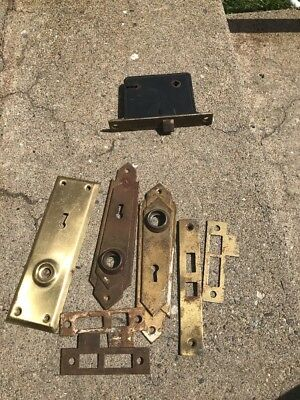 Vintage Metal Antique Door Knob Plates And Lock