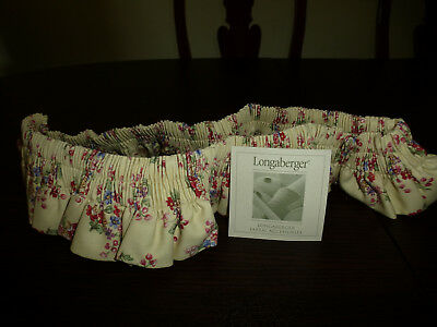 Longaberger Large Basket Garter-Sweetheart Floral Bouquet Fabric New in Bag!