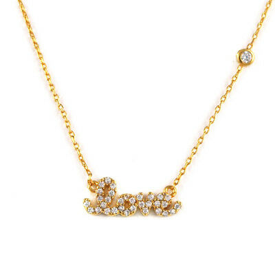 Tai Jewelry Love and One CZ Gold Simple Chain Necklace (Brand New)