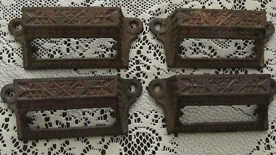 Antique Victorian cast iron mail box slot pull handles. Lot of 4