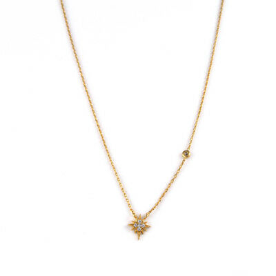 TAI Jewelry Starburst and One CZ Gold Chain Necklace  (Brand New)