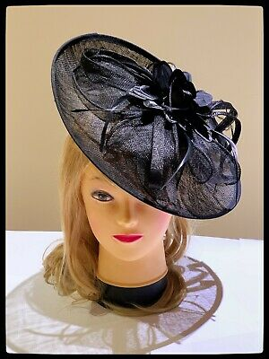 Classic Sinamay Fascinators Vintage Black Flower Races Wedding Party