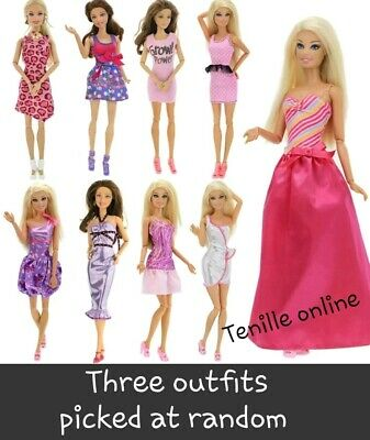 New Barbie doll outfits clothes dress x3  Aussie seller good quality random