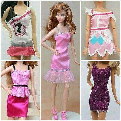 New Barbie doll outfits clothes dress short pink purple quality x5