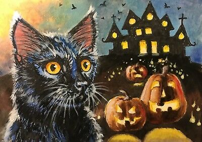 ACEO Original Art Painting Halloween Cat Jack O Lantern Witches House