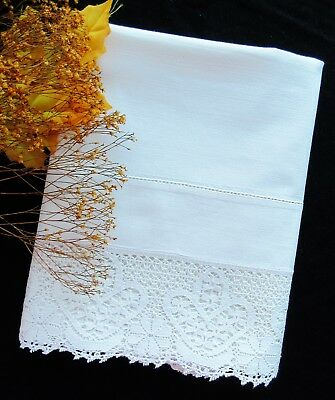 SINGLE Antique Large White Linen Pillowcase With Lace Edge FREE SHIPPING