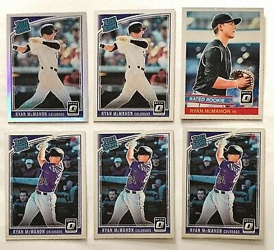 2018 Donruss Optic Ryan McMahon RC Lot(6) Base + Retro + Variation Rockies Holo
