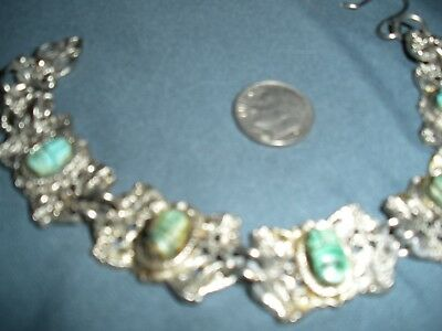 Sixties Vintage Scarab Faience Carved Egyptian Revival Bracelet Silver Tone