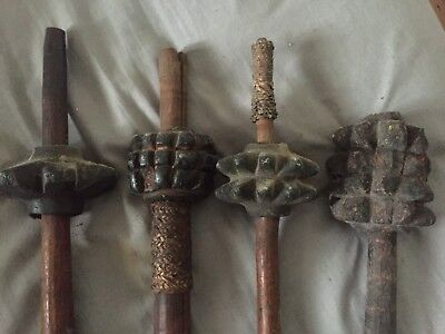 Set Of 4 Incredible Early Papua New Guinea Stone Clubs. PNG, Stone Club.