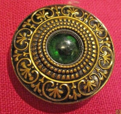 3 Antique Vintage Victorian Large Ornate Design Brass Buttons Green Glass Stone