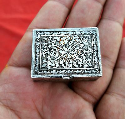 ANTIQUE 1800s BEAUTIFUL HAND CARVED RARE ISLAMIC ROYAL SILVER BOX