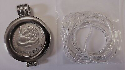 COIN PENDANT 1960 50% Silver SHILLING in a bezel and silver chain