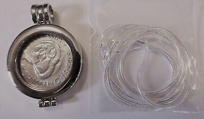 COIN PENDANT 1959 50% Silver SHILLING in a bezel and silver chain