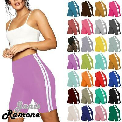 New Womens Double Side Stripe Active Gym Cycling Shorts Fishnet Tights Hot Pants
