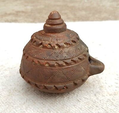 Old Early Scarce Hand Carved Terracotta Magical Oil Lamp-Very Unique System