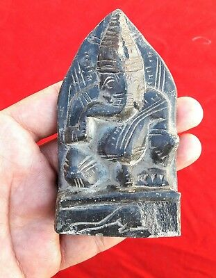 1800's ANTIQUE RARE BLACK STONE HANDMADE HINDU GOD GANESHA STATUE FIGURE