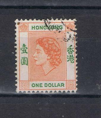 "Hong Kong 1954 Queen Elizabeth II One Dollar ""Thick leg on R"" variety Used"
