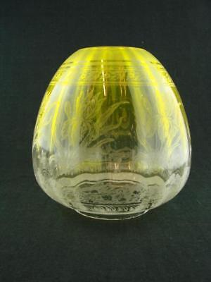 Victorian, Art Nouveau, Yellow Etched Glass Beehive Duplex Oil Lamp Shade