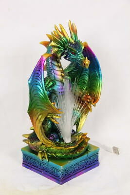 Dragon Coloured Rainbow Fibre Optic USB Light Statue Ornament 25 cm
