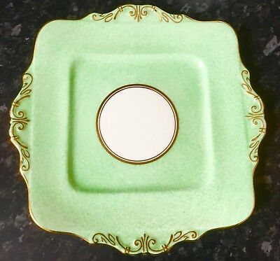 vintage china cake plate Green afternoon high tea party gilded Paragon